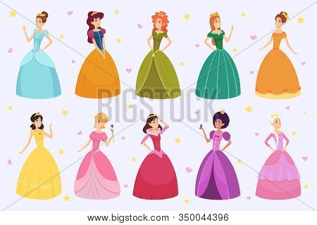 Elegant Fairytale Woman. Cartoon Young Beautiful Princess Fantasy Fashioned Childrens In Colored Cos