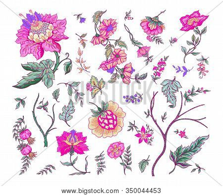 Set Of Fantasy Flowers In Retro, Vintage, Jacobean Embroidery Style. Embroidery Imitation Isolated O