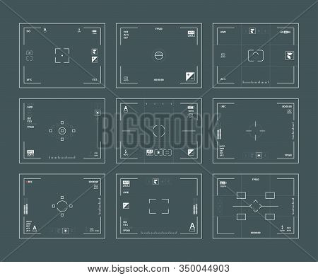 Viewfinder Interface. Digital Filing Dslr Cameras Frames Lens Focused Vector Web Template Set. Viewf