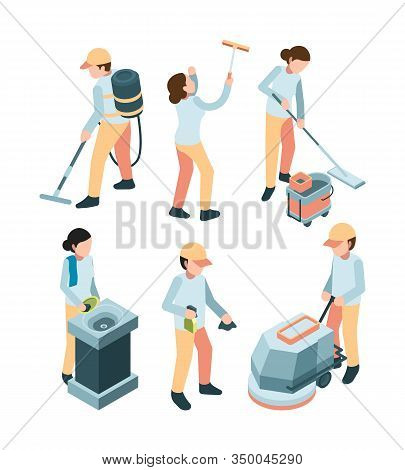 Cleaning Service. Industrial Clean Machines Dishes Washes Room Service Professional Workers Vector L