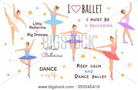 Six Ballet Dancers Standing In A Flat Design Pose On A White Background. Vector Illustration Of Ball