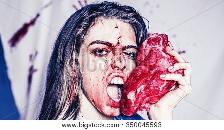 Steak Concept. Hungry Woman With Meat Steak. Hungry Emotional Angry Woman Screaming. A Sensual Blood