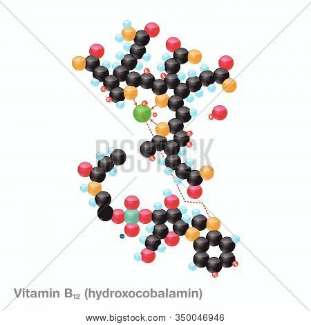 The Molecule Of Vitamin B12 (cyanocobalamin). Vector Illustration In 3d Style, Isolated On White Bac