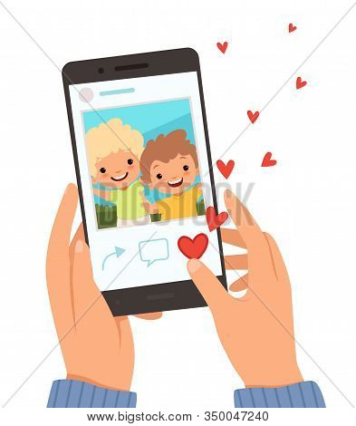 Friends Portrait. Hands Holding Smartphone With Photo Of Happy Smile Kids On Screen Like In Social W