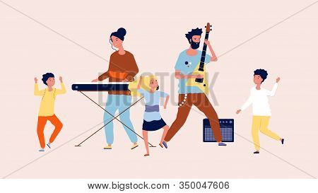 Children Party. Children Dancing In Disco. Musicians And Funny Guys, Music Festival Vector Illustrat