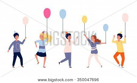 Happy Children. Group Of Kids With Balloons. Birthday Party, Festival Or Carnival. Isolated Teens Ch