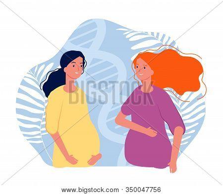Motherhood. Pregnant Girls, Joyful Future Parents. Same-sex Family Expecting Baby. In Vitro Fertiliz