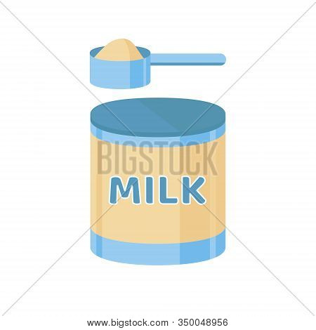 Artificial Feeding For Newborn. A Scoop Of Milk Formula. Baby Care, Illustration In Flat Style