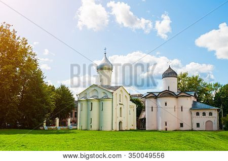 Veliky Novgorod, Russia. Church Of St Procopius And Church Of The Myrrh-bearers At The Yaroslav Cour