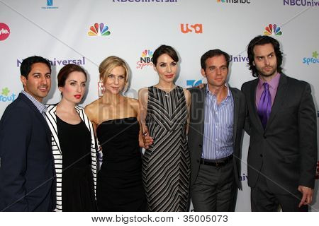 """LOS ANGELES - AUG 1:  Whitney Cummings and the cast of her show """"Whitney"""" arriving at the NBC TCA Summer 2011 All Star Party at SLS Hotel on August 1, 2011 in Los Angeles, CA"""