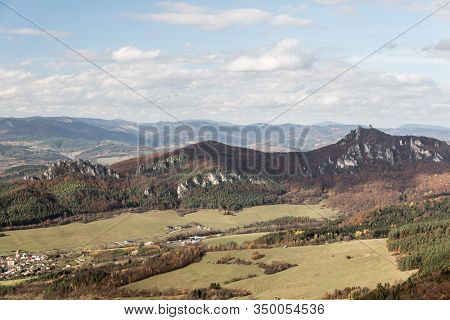 View From Kecka Hill In Autumn Sulovske Skaly Mountains In Slovakia With Partly Rocky Hills Covered