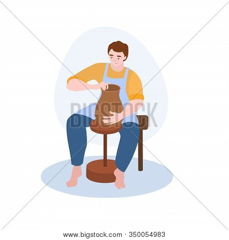 Potter Makes A Clay Pot Vector Illustration From Hobbies Collection. Flat Cartoon Illustration Isola