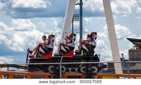Brooklyn, New York City, Usa - June 22, 2019: Thunderbolt - Roller Coaster In Coney Island Luna Park