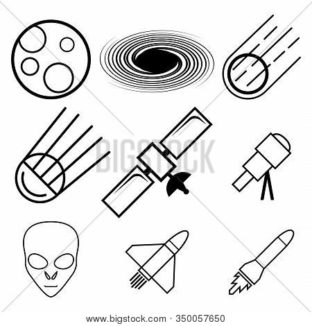 A Set Of Nine Abstract Icons On The Theme Of Space And Cosmonautics Day. Image Of A Telescope, Satel