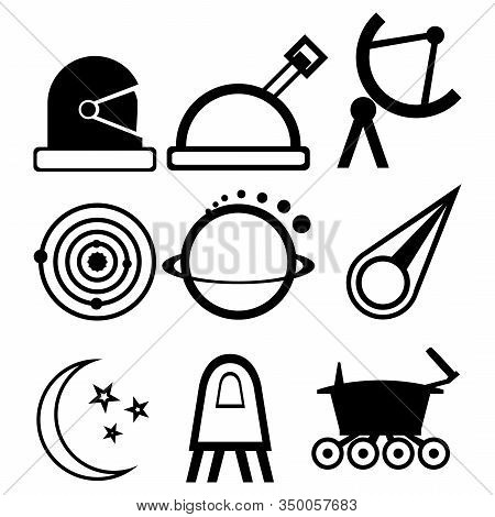 A Set Of Nine Abstract Icons On The Theme Of Space And Cosmonautics Day. Astronaut's Helmet, Telesco