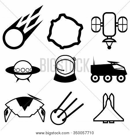 A Set Of Nine Abstract Icons On The Theme Of Space And Cosmonautics Day. Comet, Unidentified Flying