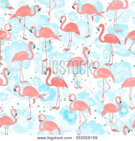Tropical Seamless Pattern With Bright Tropical Bird Pink Flamingo On White Background With Blue Stri