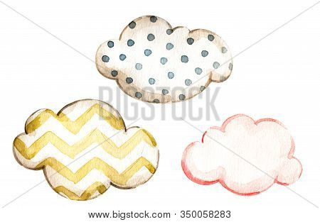 Watercolor Set With Pink Yellow, Blue Polka Dot Watercolor Clouds For Decorative Design. Isolated Te