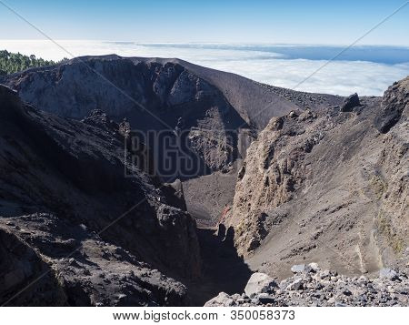 View To Crater Of Volcano El Duraznero Along The Path Ruta De Los Volcanes, Beautiful Hiking Trail A
