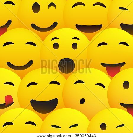 Yellow Smiling Faces With Various Expressions - Emoji Pattern Background
