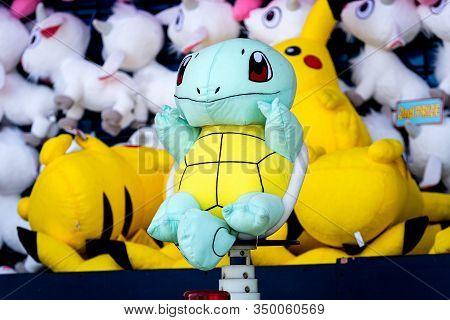 Brooklyn, New York City, Usa - June 22, 2019: Pokemon Soft Toys On The Shelf In Coney Island Gift Sh