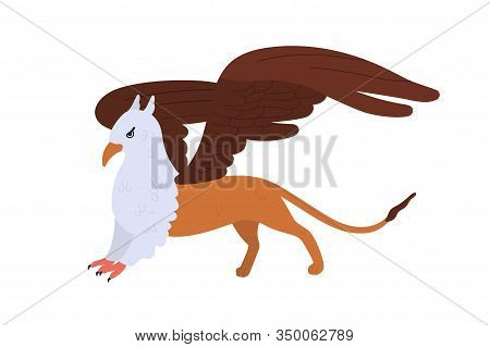 Half Bald Eagle And Lion Mythical Creature Isolated On White Background. Cartoon Griffon Vector Flat