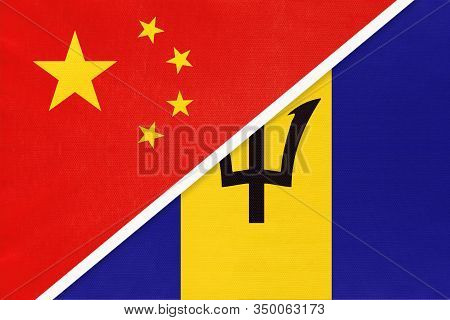 China Or Prc Vs Barbados National Flag From Textile. Relationship Between Asian And American Countri