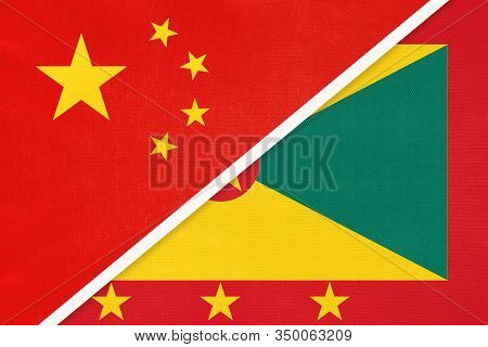 China Or Prc Vs Grenada National Flag From Textile. Relationship Between Asian And American Countrie