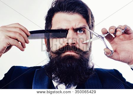 Bearded Man With Long Moustache. Man In Barbershop. Handsome Bearded Man With Long Beard Moustache A