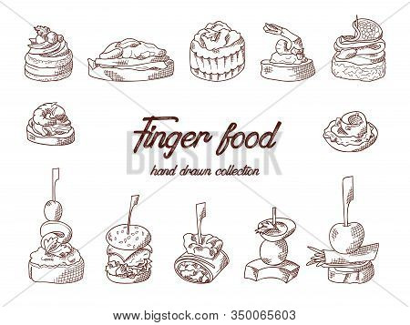 Set Of Finger Food Elements. Canape And Appetizes Served On Sticks In Sketch Style. Catering Service