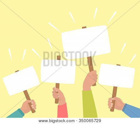 Hands In Colored Shirts Holding Banners. Concept Of Voting, Protest, Rally. Demonstration, Crowd Of