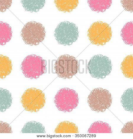 Polka Dot Doodle Geometric Vector Seamless Pattern. Textile Fabric Polka Dot Print, Geometric Backgr