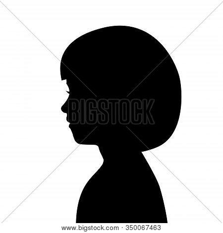 Black Silhouette Of Female Head. Profile Of Young Girl. Black Head Contour Isolated On White Backgro