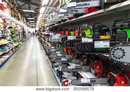 Gryazi, Russia - Aug 30. 2016. Chainsaws In Prorab Store Interior