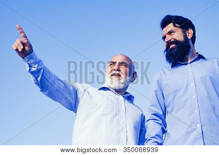 Generation Of People And Stages Of Growing Up. Grandpa Retiree. Portrait Of Two Bearded Men. Retirem