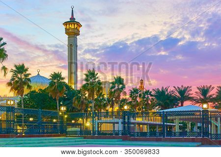 The Grand Mosque in Old Dubai at sunset, United Arab Emirates