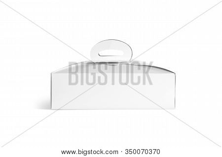Blank White Cardboard Cake Box Mockup, Isolated. Empty Carton Package With Handle For Birthday Pie M