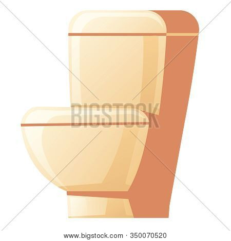 Toilet Bowl With Flush Tank And Closed Seat Lid Isolated On White Background. Vector Cartoon Illustr