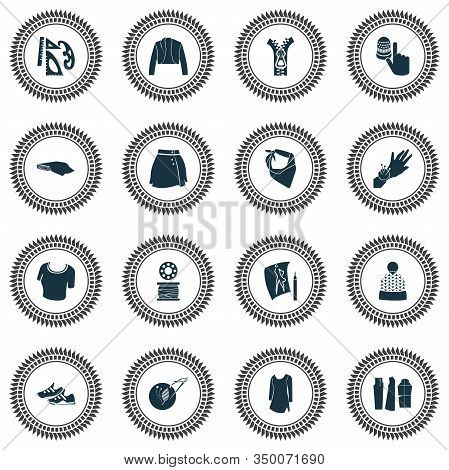 Style Icons Set With Trainer Shoes, Fashion Sketch, Zipper And Other Handicraft Elements. Isolated V