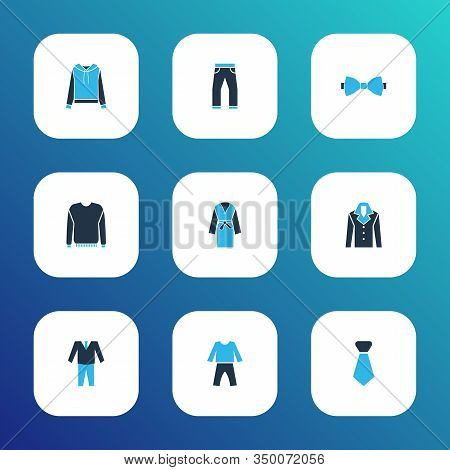 Clothes Icons Colored Set With Suit, Bow Tie, Jumper And Other Cravat Elements. Isolated Vector Illu
