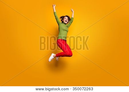 Yeah I Am Best. Full Size Photo Of Delighted Excited Girl Hear Incredible Win Novelty Scream Raise F