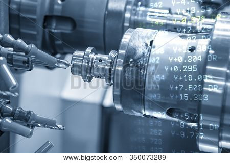 The Abstract Scene Of Cnc Lathe Machine And The Nc Data Background In Drilling Process With Metal Sh