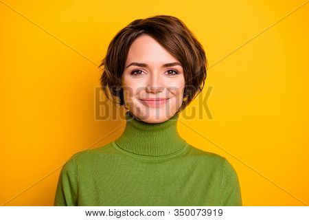 Closeup Photo Of Funny Short Hairdo Lady Charming Smiling Good Mood Positive Person Wear Casual Gree