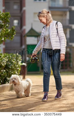 Middle-aged Woman Walking With Fluffy White Dog In Summer City