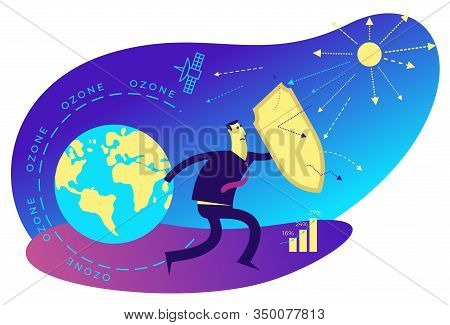 Ecological Illustration. Ozone Depletion. Ozone Hole. Man With A Shield Covers Planet From Influence