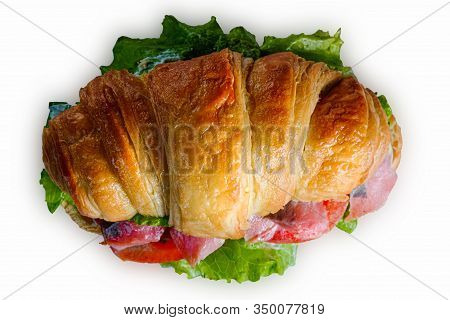 Croissant Sandwiche With Salmon Red Fish Isolated On A White Background