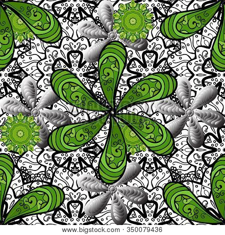 Green, White And Black On Green, White, Black. Retro Textile Design Collection. 1950s-1960s Motifs.