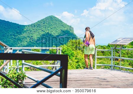 Back View Of Happiness Man At The Famous Saltwater Emerald At Thale Nai On Koh Mae Ko Island Viewpoi