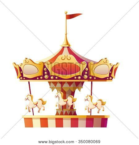 Carousel Merry Go Round With Horses Isolated On White Background. Amusement Carnival Park, Fair Ente