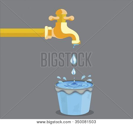 Vector Illustration Of Water Pouring The Bucket And Dropping Outside The Bucket